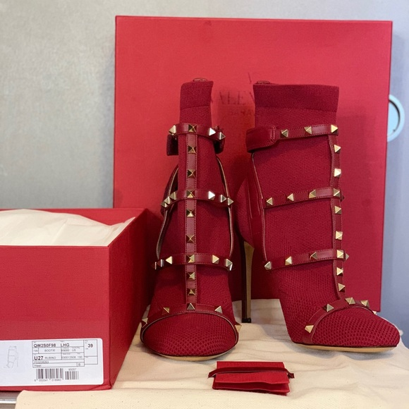 Valentino Shoes - Valentino Studded Red Sock Booties